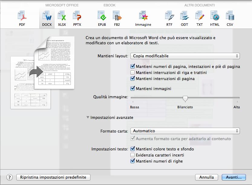 Salvare dei documenti nel formato o nell'applicazione preferiti dall'utente